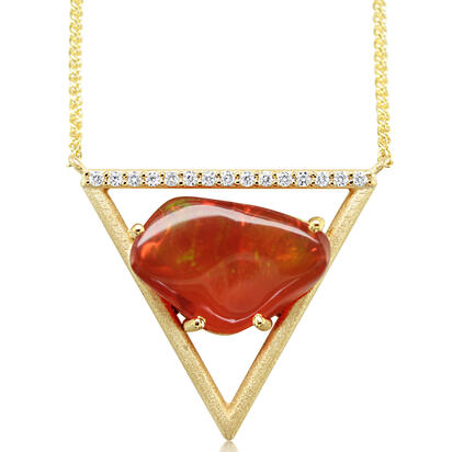 14K Yellow Gold Mexican Fire Opal/Diamond Neckpiece | NFOFF100476C