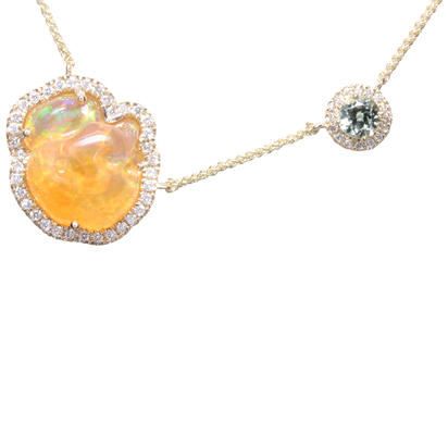 14K Yellow Gold Mexican Fire Opal/Mint Garnet/Diamond Neckpiece | NFOFF150538C
