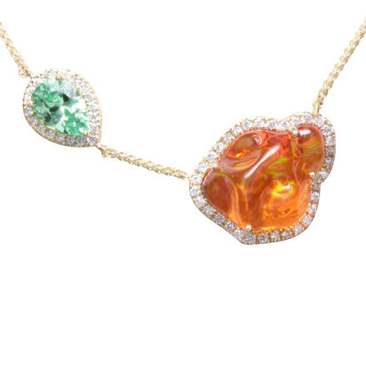 14K Yellow Gold Mexican Fire Opal/Mint Garnet/Diamond Neckpiece | NFOFF200415C