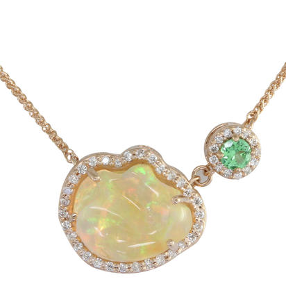 14K Rose Gold Mexican Fire Opal/Mint Garnet/Diamond Neckpiece | NFOFF200444R