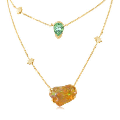 14K Yellow Gold Fire Opal/Mint Garnet Neckpiece | NFOFF250381C