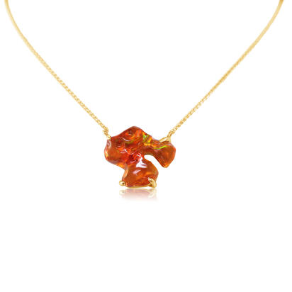 14K Yellow Gold Fire Opal Neckpiece | NFOFF300289C