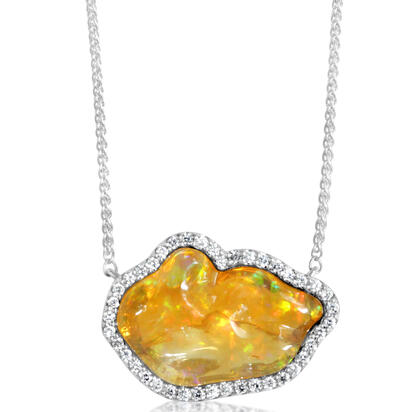 14K White Gold Mexican Fire Opal/Diamond Neckpiece