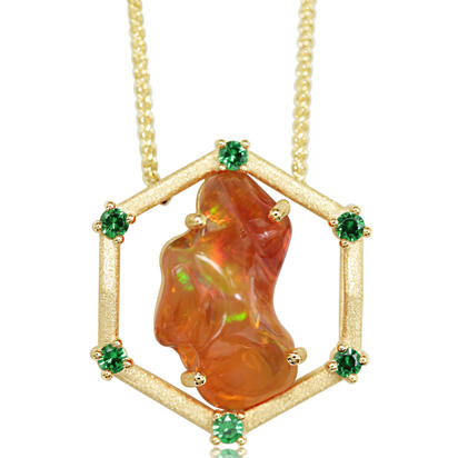 14K Yellow Gold Mexican Fire Opal/Diamond Neckpiece | NFOFF300423C