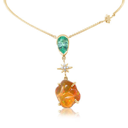 14K Yellow Gold Fire Opal/Mint Garnet/Diamond Neckpiece | NFOFF400387C
