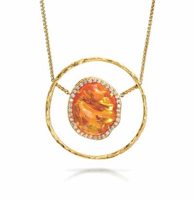 14K Yellow Gold Mexican Fire Opal/Diamond Neckpiece | NFOFF400705C