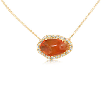 14K Yellow Gold Fire Opal/Diamond Neckpiece | NFOFF40398C