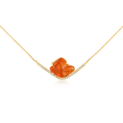 14K Yellow Gold Mexican Fire Opal/Diamond Neckpiece | NFOFF40612C
