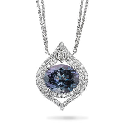 14K White Gold Peacock Tanzanite/Diamond Neckpiece | NFTOV825722WI