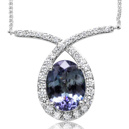 14K White Gold Peacock Tanzanite/Diamond Neckpiece | NFTOV850503WI