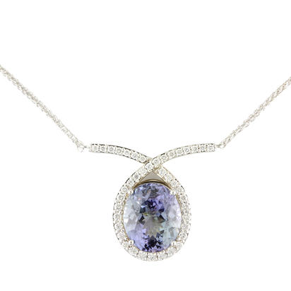18K White Gold Peacock Tanzanite/Diamond Neckpiece | NFTOV875597QI