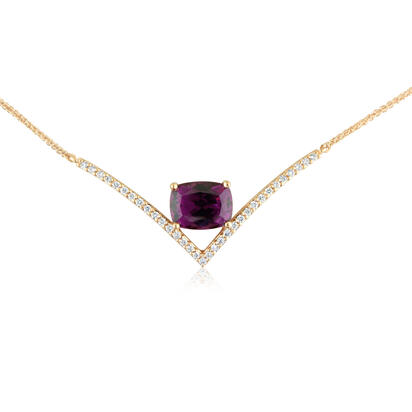 14K Rose Gold Purple Garnet/Diamond Neckpiece | NGPCU875270R