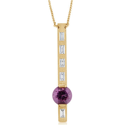 14K Yellow Gold Purple Garnet/Diamond Neckpiece | NGPRD700231C
