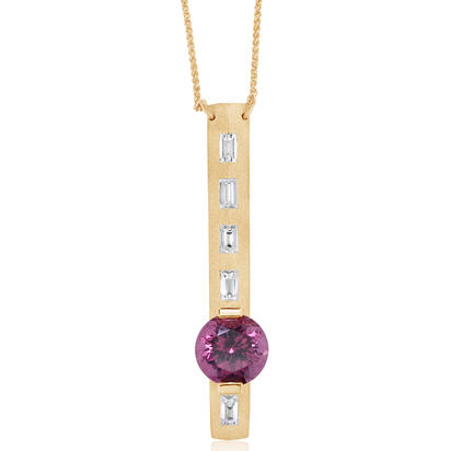 14K Yellow Gold Purple Garnet/Diamond Neckpiece | NGPRD850267C