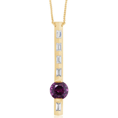 14K Yellow Gold Purple Garnet/Diamond Neckpiece | NGPRD892237C