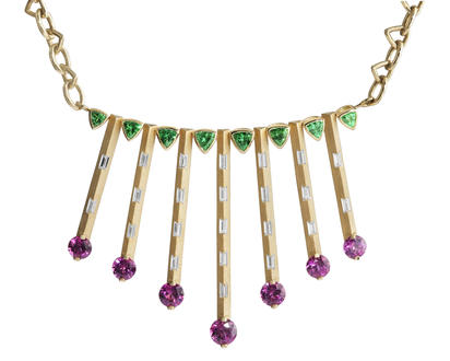 14K Yellow Gold Purple Garnet/Tsavorite/Diamond Neckpiece | NGPRD9001079C