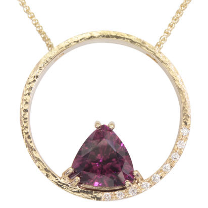 14K Yellow Gold Purple Garnet/Diamond Neckpiece | NGPTR625414C