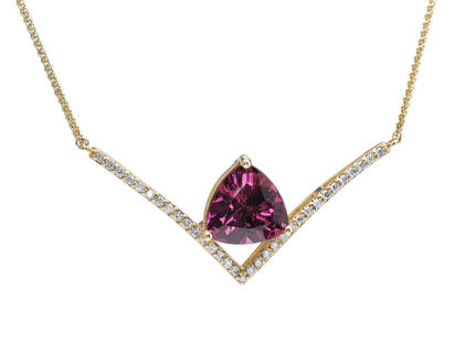 14K Yellow Gold Purple Garnet/Diamond Neckpiece | NGPTR920330C