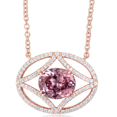 14K Rose Gold Lotus Garnet/Diamond Neckpiece | NLGOV850409RI