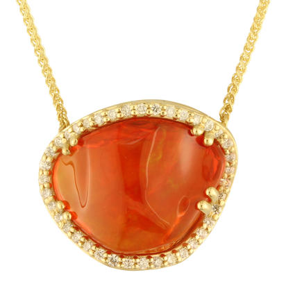 14K Yellow Gold Mexican Fire Opal/Diamond Neckpiece | NMFOFF250507C