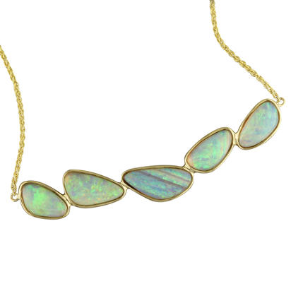 14K Yellow Gold Australian Opal Necklace | NNAT242I