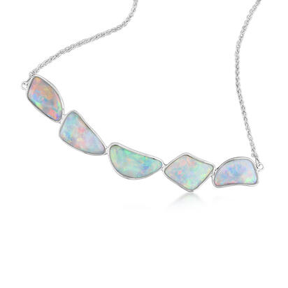 14K White Gold Australian Opal Necklace
