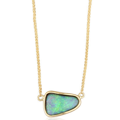14K Yellow Gold Bezel Set Australian Black Opal with Solid Back | NNB07I