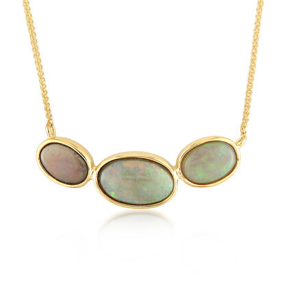 14K Yellow Gold Australian Black Opal Necklace | NNB248-8I