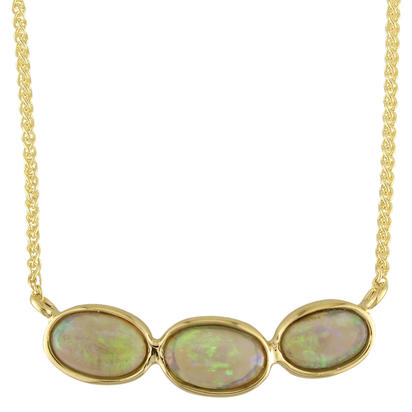 14K Yellow Gold Australian Black Opal Necklace | NNB248I