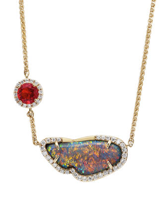 18K Yellow Gold Australian Black Opal/Fire Opal/Diamond Neckpiece | NNBFF000262EI