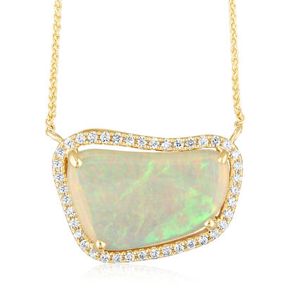 14K Yellow Gold Brazilian Opal/Diamond Neckpiece | NNLOFF150316CI