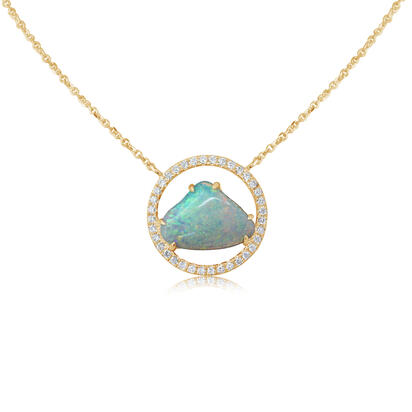 14K Yellow Gold Australian Opal/Diamond Neckpiece