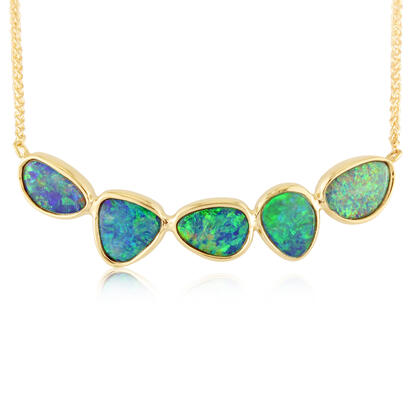 14K Yellow Gold Australian Opal Doublet Necklace | NOD242I
