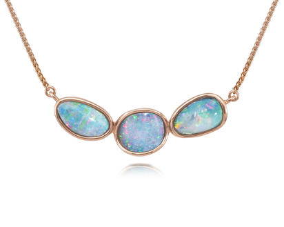 14K Rose Gold Australian Opal Doublet Necklace | NOD2481AXRI