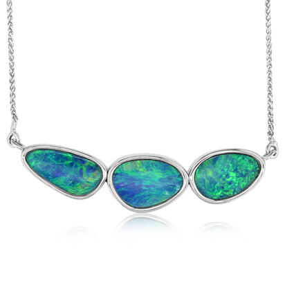 14K White Gold Australian Opal Doublet Necklace | NOD2482AXWI