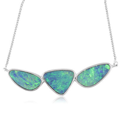 14K White Gold Australian Opal Doublet Necklace | NOD2483AXWI