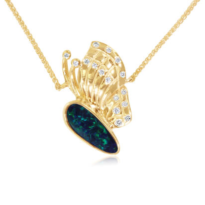 14K Yellow Gold Australian Opal Doublet/Diamond Small Butterfly Neckpiece | NOD3111A2CI