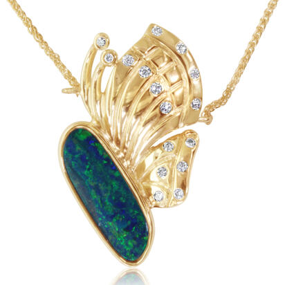 14K Yellow Gold Australian Opal Doublet/Diamond Medium Butterfly Neckpiece | NOD3121A2CI