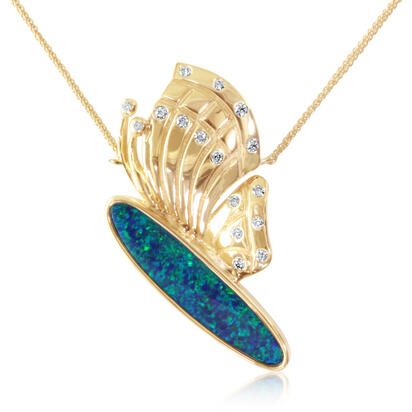 14K Yellow Gold Australian Opal Doublet/Diamond Large Butterfly Pendant | NOD3131A2CI