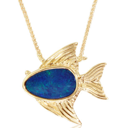 14K Yellow Gold Australian Opal Doublet Small Fish Neckpiece