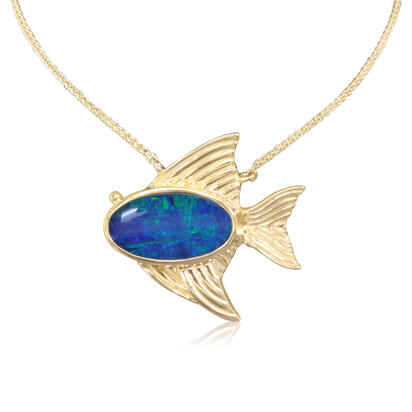 14K Yellow Gold Australian Opal Doublet Medium Fish Neckpiece | NOD3151AXCI