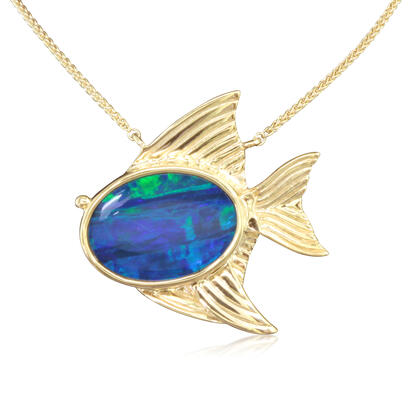 14K Yellow Gold Australian Opal Doublet Large Fish Neckpiece | NOD3161AXCI
