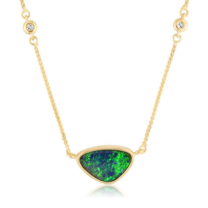 14K Yellow Gold Australian Opal Doublet/Diamond In Chain Neckpiece | NOD900-9I