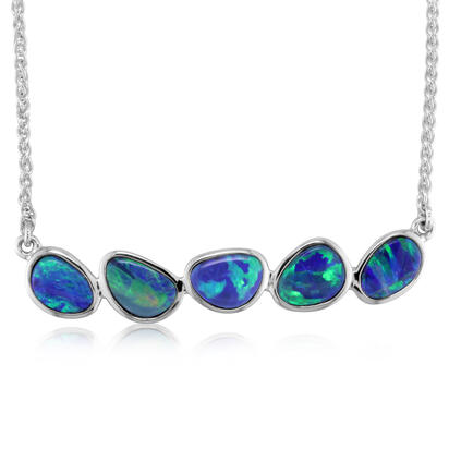 14K White Gold Australian Opal Doublet Necklace | NODW242I