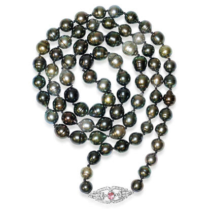 14K White Gold Tahitian Multi Color Pearl Necklace with Sapphire/Diamond Clasp , | NPC051PT3WI