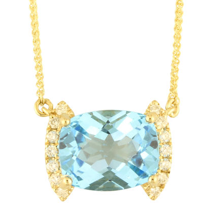 14K Yellow Gold Blue Topaz/Diamond Neckpiece | NPF208BC2CI