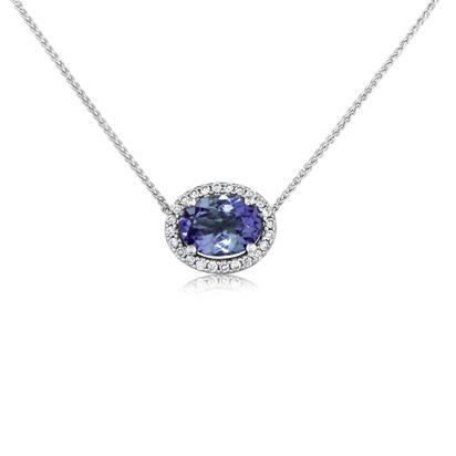 14K White Gold Peacock Tanzanite/Diamond Neckpiece
