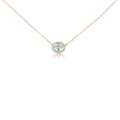 14K Rose Gold Mint Garnet/Diamond Neckpiece | NPF212MG1RI