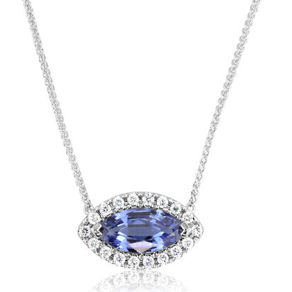 14K White Gold Semi Mount/Diamond Neckpiece | NPF215XX1W