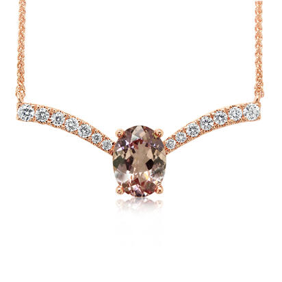 14K Rose Gold Lotus Garnet/Diamond Neckpiece